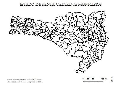 Mapa de Santa Catarina com contorno dos municípios.