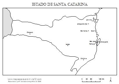 Mapa de Santa Catarina com cidades principais.