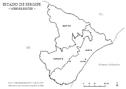 Divisão das mesorregiões do estado de Sergipe segundo o IBGE.