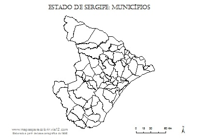 Mapa de Sergipe com contorno dos municípios.