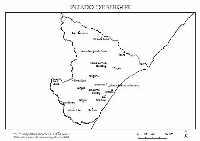 Mapa de Sergipe com cidades principais.