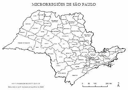 Mapa das microrregiões do estado de São Paulo com nomes para colorir.