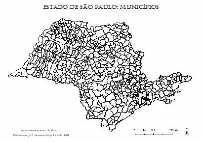 Mapa de São Paulo com contorno dos municípios.