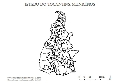 Mapa do Tocantins com contorno dos municípios.