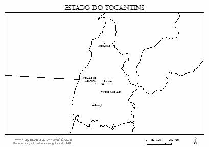 Mapa do Tocantins com cidades principais.