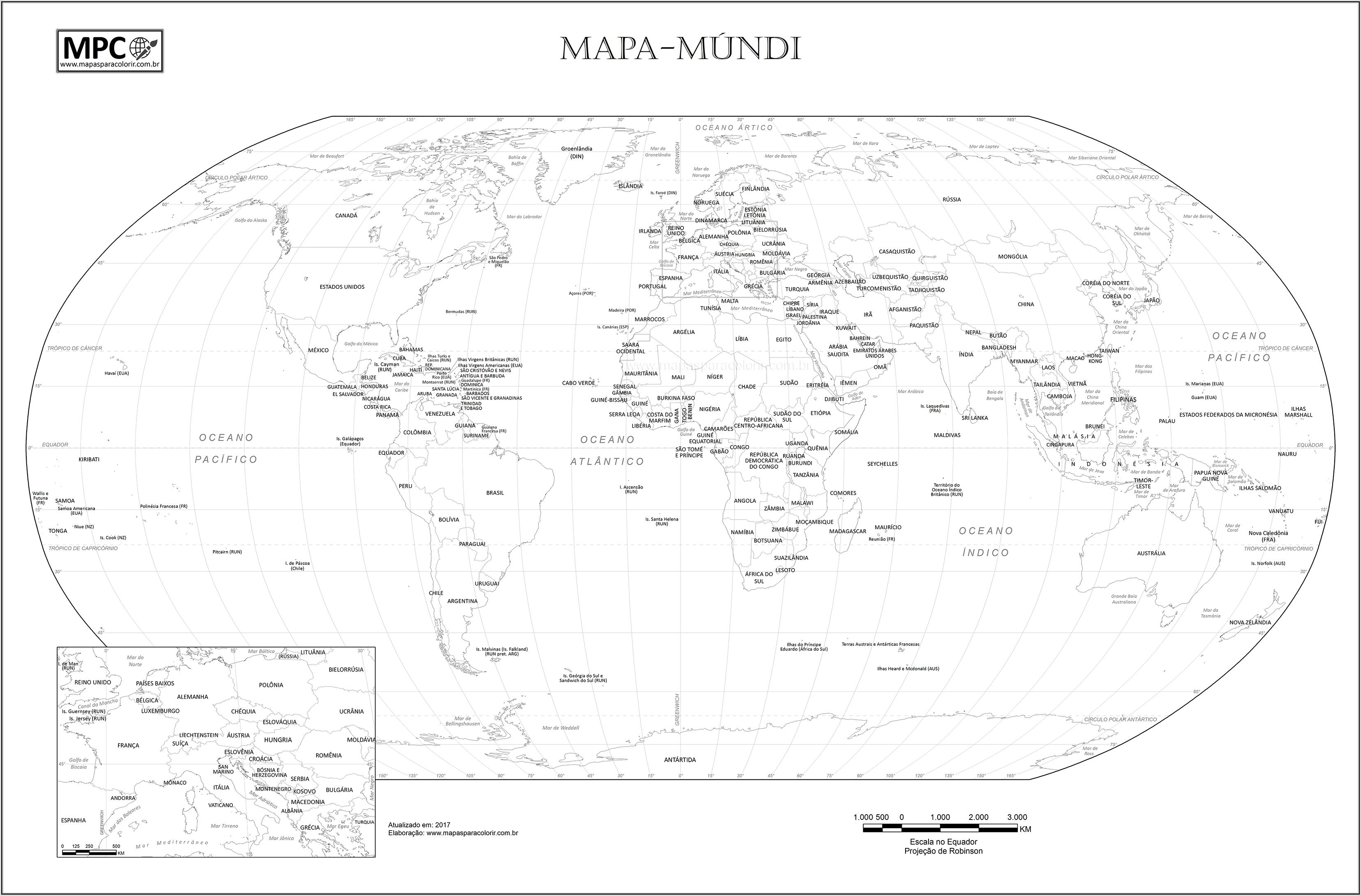 MAPA MUNDI PARA COLORIR - Político e continentes