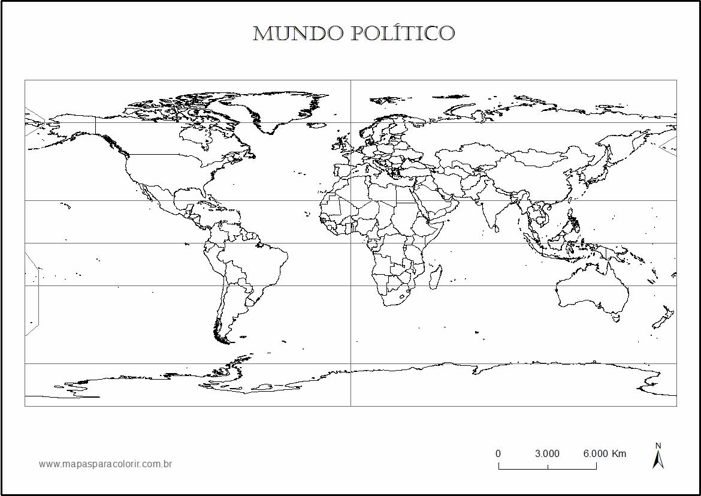 mapa mundo para colorir MAPA MUNDI PARA COLORIR   Político e continentes mapa mundo para colorir