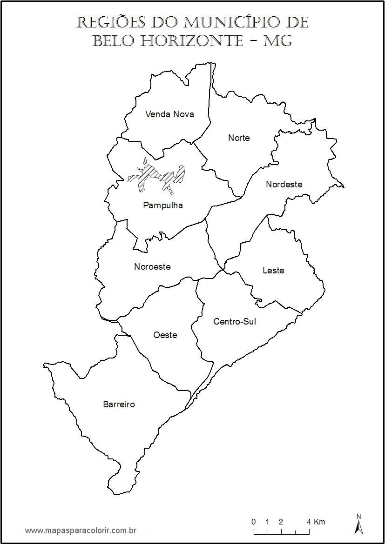 Mapas de Belo Horizonte Mapas para Colorir