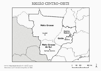 Mapa da Região Centro-Oeste com nomes dos estados e das capitais.