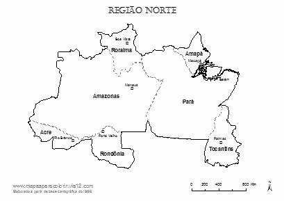 Mapa da Região Norte com nomes dos estados e das capitais para colorir.