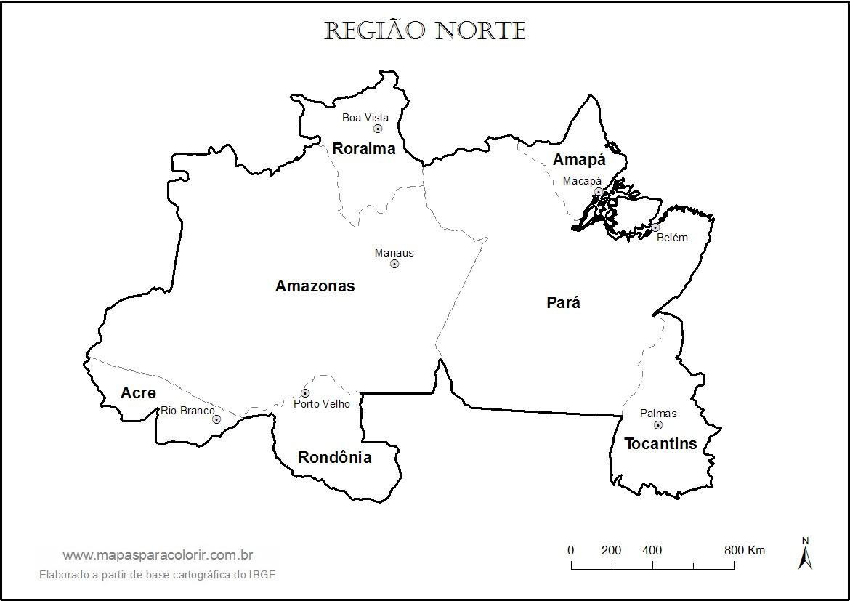 mapa norte Mapa da Região Norte para colorir mapa norte