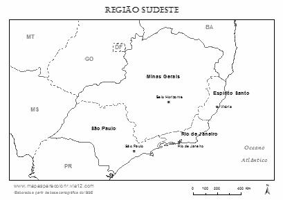 Mapa da Região Sudeste com estados e capitais para colorir.