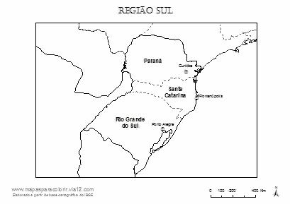 Mapa da Região Sul com nomes dos estados e capitais para colorir.