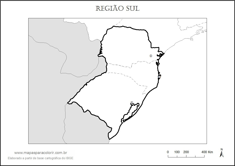Mapa Da Regi  O Sul   Estados E Capitais Para Colorir